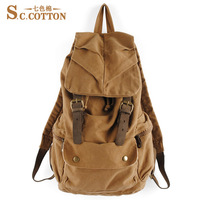Cotton canvas bag men travel backpack boy school bag preppy style backpack 1005