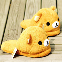 Bear plush slippers thermal winter home slippers super soft anti-slip soles home