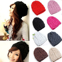 Fashion Lady Women Knit Crochet Hat Winter Warm Braided Baggy Beret Beanie Cap