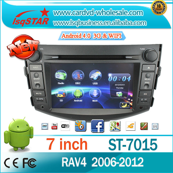 Android 4.0 Car Stereo Wholesalers for Toyota Rav4 2006-2012 with GPS DVD RDS Radio BT PIP AUX SWC Android 4.0 3G WIFI(China (Mainland))