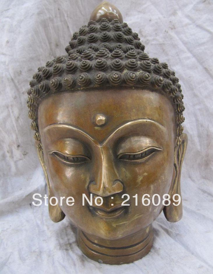 9 inch tall copper carvings sakyamuni buddha head figurine AAA FREE Shipping(China (Mainland))