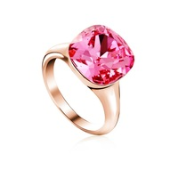 Made With Verified Swarovski Elements Crystal Pink RiA010 Vintage RingThick 18K Gold Plated Free Shipping