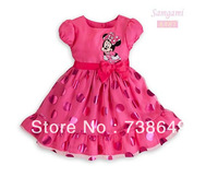 Retail,new children dress girls princess dresses cartoon dress Lovely girl Minnie short sleeve dress,1pcs/1lot,free shipping