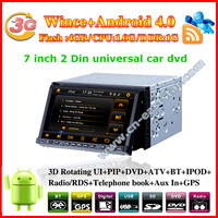 android 4.0 7 inch 2Din universal Car DVD with GPS radio USB 1G CPU Wifi 3G HD Screen audio video player Free shipping 2400