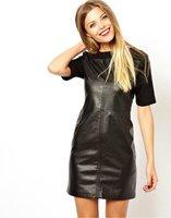 New Hot 2014 Fashion Women Black Fight Skin Short Sleeve Winter Dress Back With Zipper Sexy Dresses
