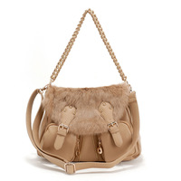 Rabbit fur bag chain PU women's handbag fashion multi-pocket women's handbag 1089