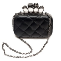 Cowhide women's handbag black shoulder bag chain bag women's brand handbag 1120