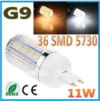 Free shipping 1pcs 5730SMD 36LED 11W G9 GU10 E27 E14 B22 110V/220V Corn Bulb Light Lamp LED Lighting Warm/Cool White Glass Cover