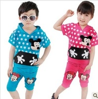 Free shipping 2013 Korean version of the new summer fashion models cute cartoon suit