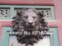 West Art pure bronze sculpture carvings fierce beast of prey lion head figurine  AAA  FREE  Shipping