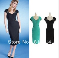 Hot new European and American big stars the same paragraph retro pencil skirt Slim short-sleeved dress A511