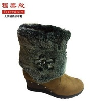 2013 autumn and winter new arrival snow boots wedge boots high-heeled boots platform cotton-padded shoes two ways flat boots