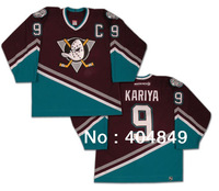 Personalized Christmas Gifts Paul Kariya #9 Mighty Ducks of Anaheim ice Hockey Jersey Stitched Custom Authentic Jersey