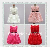 girls summer roses dress children  kids lovely belt clothing cute dresses 4 colors