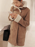 2013 autumn and winter women medium-long color block woolen outerwear deerskin fleece berber fleece outerwear female