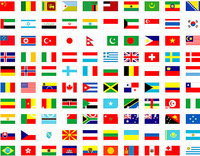 Free shipping complete set of whole world 200 countries or regions National flags with pole, size 14*21 cm