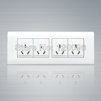 2014 New ArrivelWholesale 10pcs/lot 220V 118 type 12 hole white wall switch socket CE & Rosh, four triplex receptacle outlet