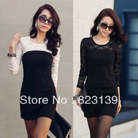 S-L,3 Colors,2014 New Fashion Women Casual Long Sleeve Splice Lace Dress, Spring and Autumn Promotion#0024