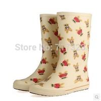 Free shipping new arrival women's classic flat heel fashion cartoon bear rainboots High quality slippery wear-resisting rubber