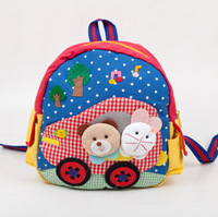 High quality kids School Bag Cartoon Animal Canvas Backpack Baby Toddler Shoulder Kindergarten Schoolbag