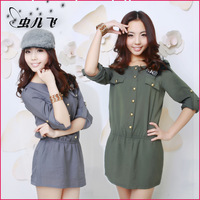 Women's autumn military long-sleeve dress slim female