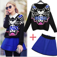 2014 spring tiger loose sweater high waist short skirt set