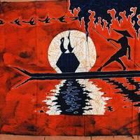 Unique natural plant batik paintings waxprinting cormorants