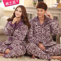 Winter thickening coral fleece flannel cotton-padded lovers sleepwear long-sleeve set male women's lounge