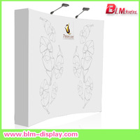 Free shipping to USA 8ft curved pop up display stand with fabric graphic printing and 2pcs pop up lights