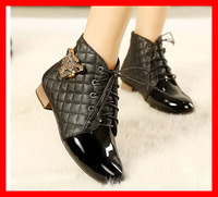 Free shipping 2014 new winter vintage pointed toe women shoes Leopard Metal ankle Women Motorcycle Boots fashion brand