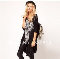 new 2014 brand network yarn printing t shirt women crop top plus size SML / loose bat sleeve punk dress