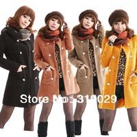 2014 New Women Jackets Fashion Slim Coats Wool Outerwear Girls Outdoor Clothing Thickening Fleece Fur Cloak overcoat
