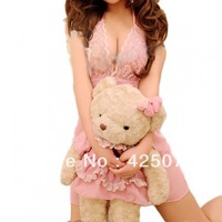 Free Shipping 5 pcs Sexy Lady Halter Lingerie Sleep Dress Nightwear Lace G-string Pink