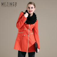 2013 winter double breasted wool gentlewomen slim wool coat three-color 34mz2515