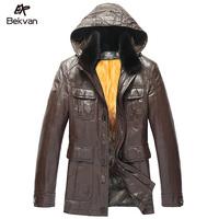 Luxury gold liner genuine leather clothing hooded medium-long male marten overcoat 2572