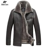 Bekvan men's clothing leather jacket fur coat fur one piece luxury men's genuine leather clothing 2439