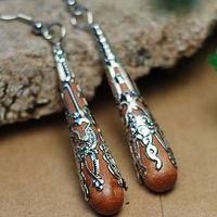 Handmade anti-allergic earring metal ornamental engraving wood earrings hot-selling