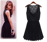Dresses New Fashion 2013 Summer Women Hollow Lace Dress Pleated Silk Sleeveless Vest Casual Dress