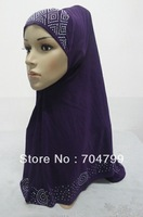 H642 latest one piece hijab with rhinestones,free shipping,fast delivery,assorted colors