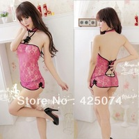 Free Shipping 10 pcs Pink Lace Sexy Lingerie Sleep Dress Sleepwear Nightwear + G-string