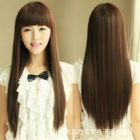Bangs Sweet Girl Fashion Long Sexy Straight Full Wig Dark Browm Hair synthetic hair wigs straight hair