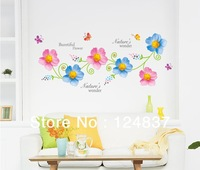 Flowers Removable Wall Decals Butterfly Wall Stickers Vinyl Stickers Wallpaper Home Decor For TV background PVC Poster Art Mural