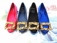 2013 summer hot-selling v flat gold of wheat side buckle single shoes fashion ol women's shoes