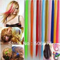 "10pcs/lot random color New 20"" Straight Colored Colorful Clip-in Clip On In Hair Extension/Hair piece Free Shipping"