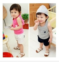 Free Shipping 1PC/LOT Wholesale  NEW 2014 Summer Children's Girl&Boy Clothing Five-Star Cotton Vest + Shorts Suit Sets Birthday