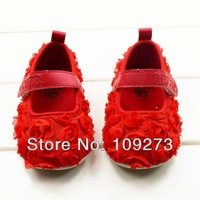3pcs/lot, Newborn Kids First Walkers,Baby Girl Satin Soft Rosette Crib Shoes with Rose Flowers For Christening Baptism Wedding