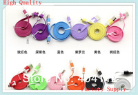50PCS High Quality Colorful 5 Pin Noodle Flat Data Sync Micro USB Cable For Samsung Galaxy S2 S3 S4 i9300 HTC Blackberry