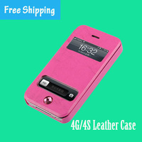 Genuine leather case for apple iphone4/4S,mobile cover,Double window and Directly answer the call,free shipping