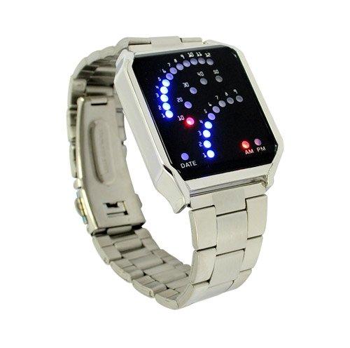 Cool man creativ 29 colorful Binary LED Digital unisex Wrist Watch Silver 31335 Free Shipping wholesale(China (Mainland))