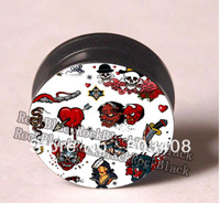 Tattoo pattern screw ear plug flesh tunnel body jewelry mixing sizes  AAA016